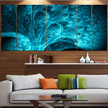 Designart Magical Blue Psychedelic Forest Abstractcanvas Art Print 5 Panels