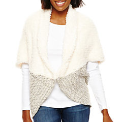 Faux-Fur Sherpa Marled Knit Cocoon Wrap
