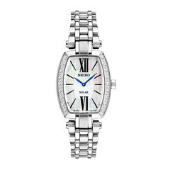 Seiko® Tressia Womens Diamond-Accent Rectangular Solar Bracelet Watch SUP283