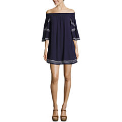 My Michelle3/4 Sleeve EmbroideredDress-Juniors