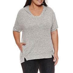 Boutique + Short Sleeve Knit Hoodie Plus