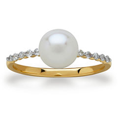 Sofia Womens 1/10 CT. T.W. Genuine White Pearl 10K Gold Cocktail Ring