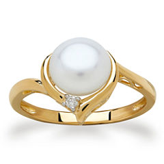 Sofia Womens Diamond Accent White Pearl 10K Gold Cocktail Ring