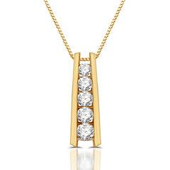 Womens 1 1/3 CT. T.W. White Diamond 10K Gold Pendant Necklace