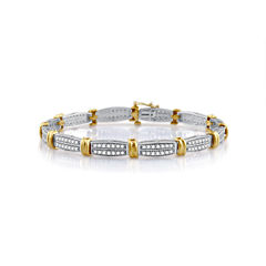 Womens 7.5 Inch White Diamond 10K Gold Link Bracelet