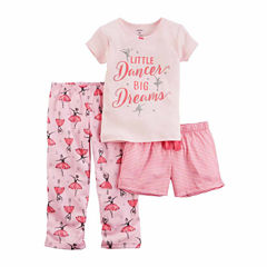 Carter'S Girls 3Pc Pajama Mock Set