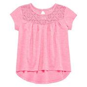 Arizona Girls Short Sleeve Lace Yoke T-Shirt-Preschool