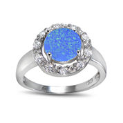 Lab-Created Blue Opal and Cubic Zirconia-Accent Sterling Silver Round Halo Ring