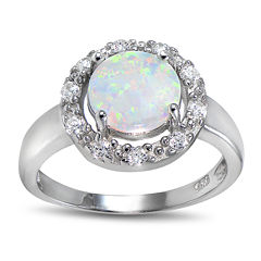 Lab-Created Opal and Cubic Zirconia-Accent Sterling Silver Round Halo Ring