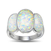 Lab-Created Opal Three-Stone Sterling Silver Ring