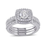 1 1/2 CT. T.W. Diamond 10K White Gold Ring Set