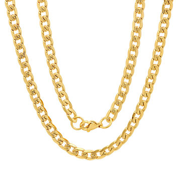 18k Gold Over Stainless Steel 24 Inch Semisolid Curb Chain Necklace