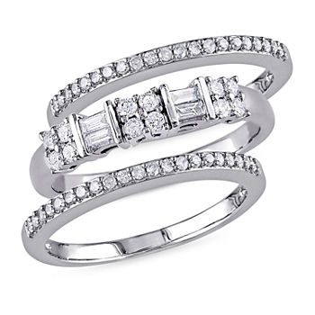 Womens 45mm 12 Ct Tw Genuine White Diamond 10k White Gold Band
