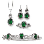 Simulated Emerald & Cubic Zirconia Boxed 4-pc. Jewelry Set