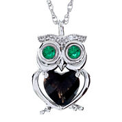 Genuine Smoky Quartz & Lab-Created Emerald Owl Pendant Necklace