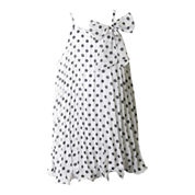 Pinky Sleeveless Polka Dot Trapeze Dress - Girls 4-6x