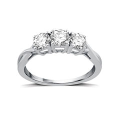 1 CT. T.W. Round White Diamond 10K Gold 3-Stone Ring