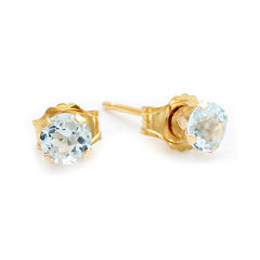 Genuine 4mm Aquamarine 10K Yellow Gold Stud Earrings