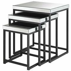 Krystal 3-pc. Square Mirror Nesting Tables