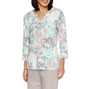 Alfred Dunner Mint To Be Short Sleeve V Neck T-Shirt