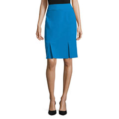 Black Label by Evan-Picone Solid Kick Pleat Skirt