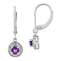 Diamond Accent Purple Amethyst Sterling Silver Drop Earrings