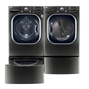 LG Front Load 4-pc. Gas Washer & Dryer Set with Pedestal Washer- Black Stainless