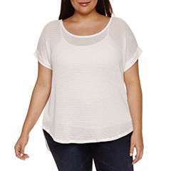 a.n.a Short Sleeve Round Neck T-Shirt-Womens Plus