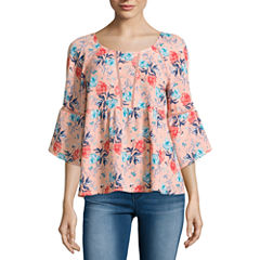 Decree Long Sleeve Round Neck Blouse-Juniors