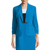 Black Label by Evan-Picone Notch Collar 1-Button Suit Jacket