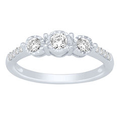 Love Lives Forever Womens 1/2 CT. T.W. Round White Diamond 14K Gold Engagement Ring