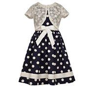 Bonnie Jeandot Dress w/ Short Sleeve Lace Mock Cardigan
