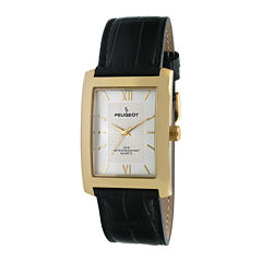 peugeot men s watches for jewelry watches jcpenney peugeot® mens champagne dial black leather strap watch