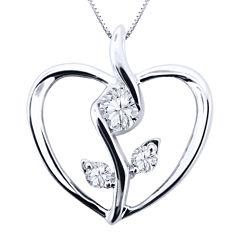 Sirena® 1/8 CT. Diamond 10K White Gold Flower Heart Pendant Necklace