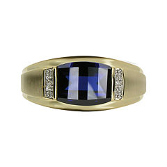 Mens Lab-Created Blue Sapphire & Diamond-Accent 10K Yellow Gold Ring