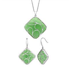 Sterling Silver Genuine Dyed Green Jade Earrings or Pendant