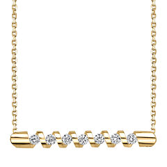 Sirena® 1/4 CT. T.W. Diamond 14K Yellow Gold Bar Pendant Necklace