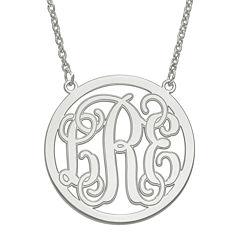 Personalized 32mm Circle Monogram Pendant Necklace