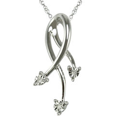 Diamond Accent Dangling Pendant Necklace 10K White Gold