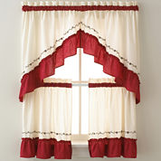 Jayden Two-Tone Rod-Pocket Kitchen Curtains