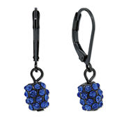 1928 Jewelry Light Sapphire Blue Crystal Studded Ball Drop Earrings