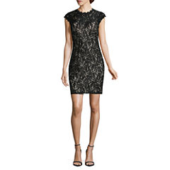 My Michelle Short Sleeve Sequin Bodycon Dress-Juniors