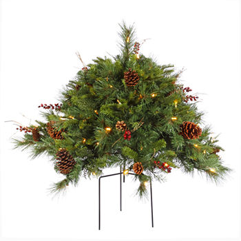 Vickerman 2 Cibola Mixed Berry Artificial Christmas Bush With 100 Warm White Led Lights