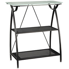 Newport 2-Shelf Bookshelf with Frosted Tempered Glass Top