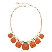 Liz Claiborne® Orange Square Stone Gold-Tone Collar Necklace