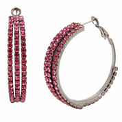 Bleu NYC Pave Stone Coil Hoop Earrings