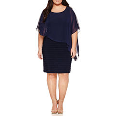 Scarlett Elbow-Sleeve Cape Dress - Plus
