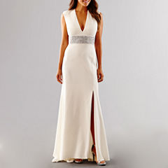 Blu Sage Short Sleeve Beaded Wedding Gown