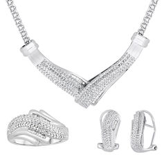 1/4 CT. T.W. Diamond Silver Over Brass 3-pc. Jewelry Set