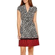 Liz Claiborne® Cap Sleeve Wrap Dress With Border Print